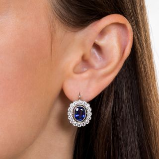 Estate 5.32 Carat Sapphire Platinum Diamond Earrings