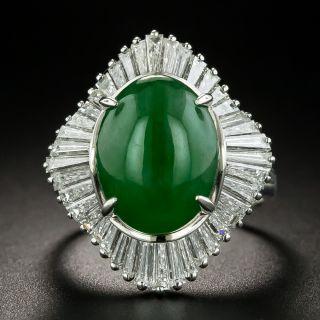 Estate 5.33 Carat Burmese Jade and Diamond Ballerina Ring - 1