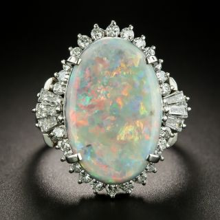 Estate 5.43 Carat Opal and Diamond Cocktail Ring - 1