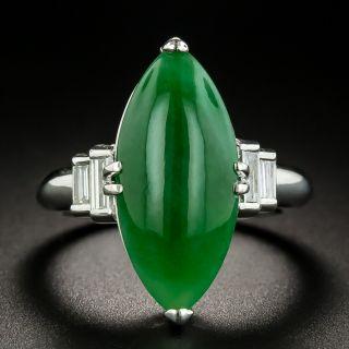 Estate 5.45 Carat Burmese Jade and Diamond Ring - 1