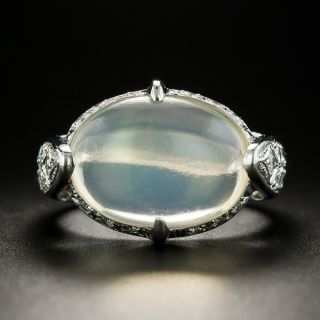 Estate 5.47 Carat Jelly Opal Cabochon and Diamond Ring  - 1