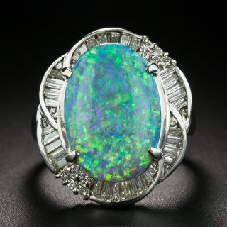 Estate 5.63 Carat Black Opal and Diamond Rings - 1