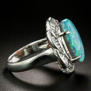 Estate 5.63 Carat Black Opal and Diamond Rings