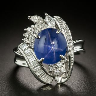 Estate 5.63 Carat Star Sapphire and Diamond Ring - 1