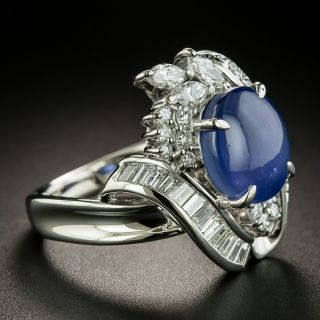 Estate 5.63 Carat Star Sapphire and Diamond Ring