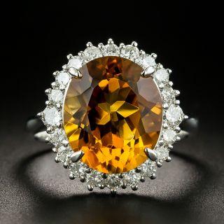 Estate 5.93 Carat Citrine and Diamond Halo Ring - 1