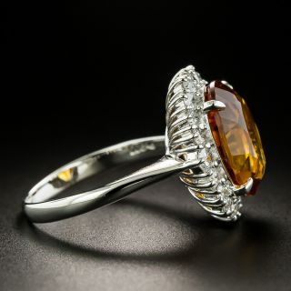 Estate 5.93 Carat Citrine and Diamond Halo Ring