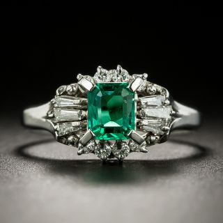 Estate .50 Carat Emerald and Baguette Diamond Ring - 2