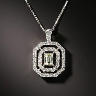 Estate .50 Carat Emerald-Cut Diamond Double Halo Pendant - 2