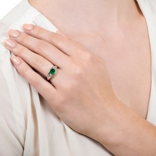 Estate .51 Carat Colombian Emerald and Diamond Ring