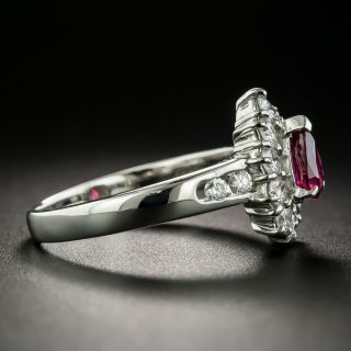 Estate .51 Carat Pear-Shaped Ruby Platinum Diamond Ring