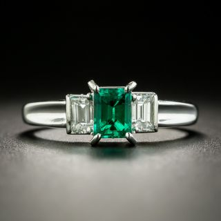 Estate .55 Carat Emerald and Diamond Ring - 2