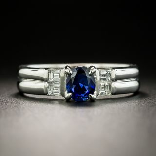 Estate .57 Carat Sapphire and Baguette Diamond Ring - 2