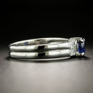 Estate .57 Carat Sapphire and Baguette Diamond Ring