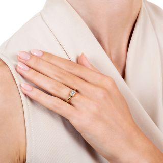 Estate .59  Carat Emerald-Cut Diamond Solitaire Ring