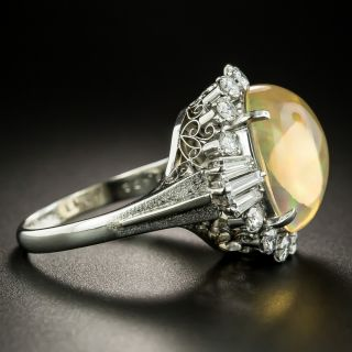 Estate 6.45 Carat Mexican Opal and Diamond Ring