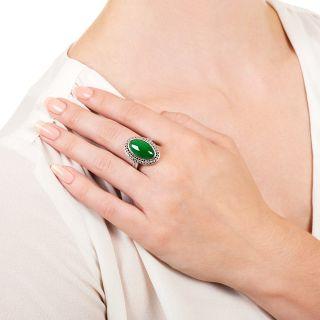 Estate 6.67 Carat Burmese Jadeite and Diamond Ring