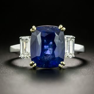 Estate 6.67 Carat No-Heat Ceylon Sapphire and Diamond Ring - 2
