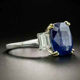 Estate 6.67 Carat No-Heat Ceylon Sapphire and Diamond Ring