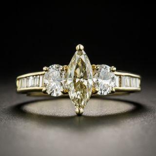 Estate .60 Carat Light Yellow Marquise Diamond Ring - 2