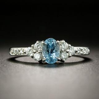 Estate .61 Carat Aquamarine and Diamond Ring - 2