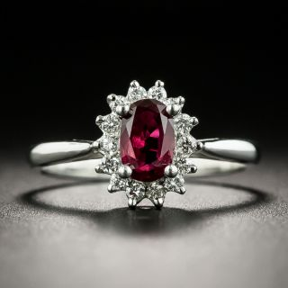Estate .63 Carat Ruby and Diamond Halo Ring - 2