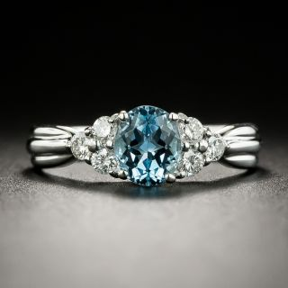Estate .65 Carat Aquamarine and Diamond Ring - 3