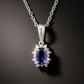 Estate .65 Sapphire with Petite Diamond Halo Necklace - 2