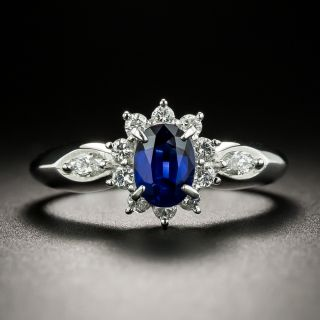 Estate .68 Carat No-Heat Sapphire Platinum Diamond Ring - 3