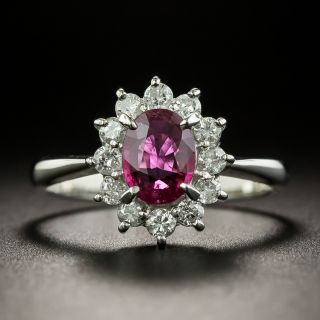 Estate .68 Carat Oval Ruby and Diamond Halo Ring - 2