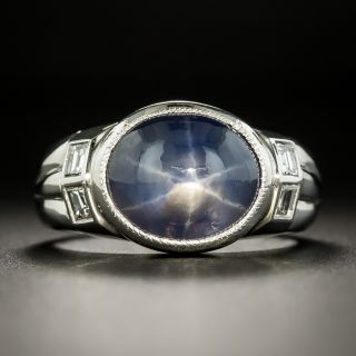 Estate 7.54 Carat Star Sapphire and Diamond Ring - 3