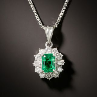 Estate .73 Carat Emerald and Diamond Halo Pendant - 3