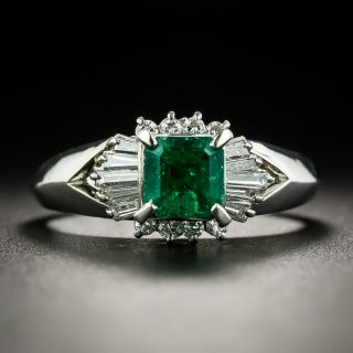 Estate .73 Carat Emerald Diamond Ring - 1