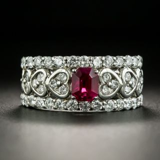 Estate .73 Carat Ruby and Diamond Band Ring - 1
