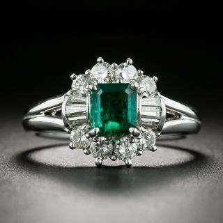 Estate .74 Carat Emerald and Diamond Ring - 1