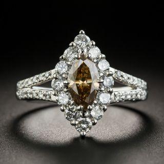Estate Natural .74 Carat Natural Fancy Brown MarquiseDiamond Platinum Ring - 2