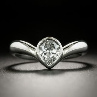 Estate .78 Carat Pea-Cut Diamond Solitaire Ring - 2