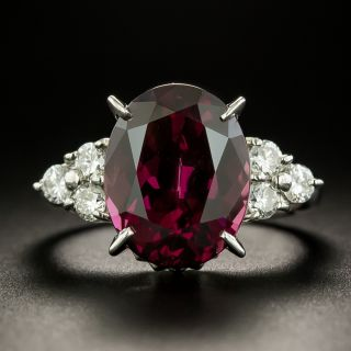 Estate 8.01 Carat Rhodolite Garnet and Diamond Ring  - 1