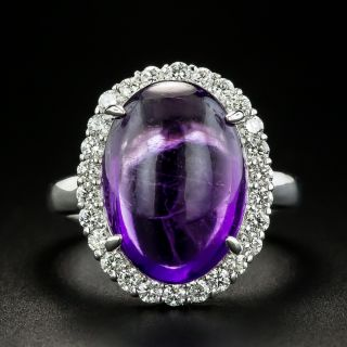 Estate 8.34 Amethyst Oval Cabochon and Diamond Ring - 1