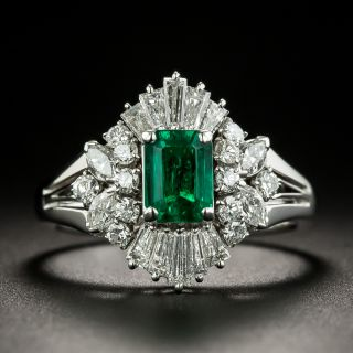 Estate .81 Carat Emerald and Diamond Ring - 2