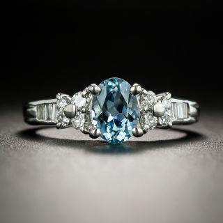Estate .86 Carat Aquamarine and Diamond Ring - 2