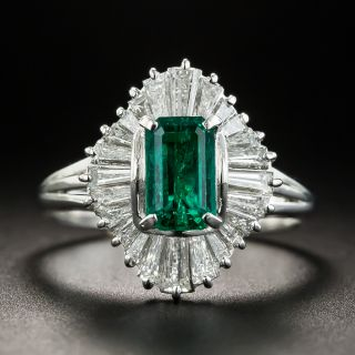 Estate .90 Carat Emerald and Diamond Ballerina Ring - 1