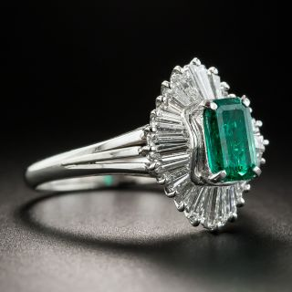 Estate .90 Carat Emerald and Diamond Ballerina Ring