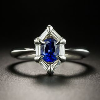 Estate .90 Carat Sapphire and Baguette Diamond Ring - 2