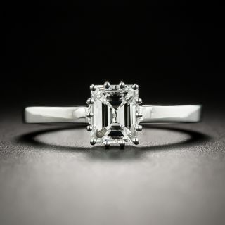 Estate .90 Ct. Emerald-Cut Diamond Platinum Solitaire Engagement Ring - GIA E VS1 - 2