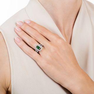 Estate .91 Carat Tsavorite Garnet and Diamond Ring