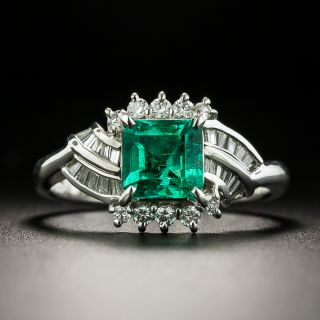 Estate .97 Carat Emerald and Diamond Ring - 2