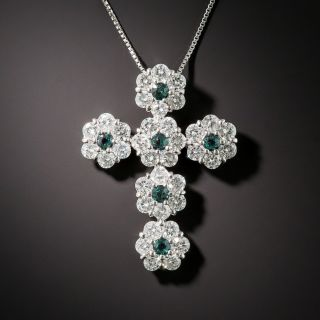 Estate Alexandrite and Diamond Cross Pendant - 3