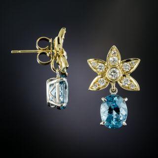 Estate Aquamarine and Diamond Flower Earrings - 1