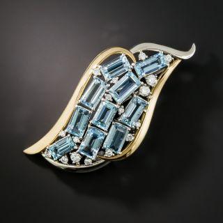 Estate Aquamarine and Diamond Wave Brooch - 2